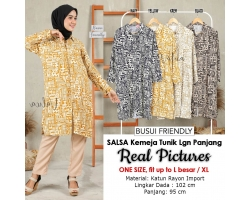 SALSA Kemeja Tunik Midi Lengan Panjang Busui Friendly - Shirt Dress AllSize fit up to L besar/XL