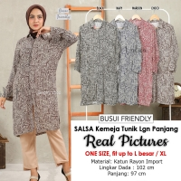 SALSA Kemeja Tunik Midi Lengan Panjang Busui Friendly - Shirt Dress AllSize fit up to L besar/XL (2)