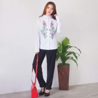 Zara Embroidery Longsleeve Shirt - White