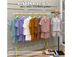PEVITA Lounge Set - Setelan Wanita Shirt + Short + FREE Matching Mask