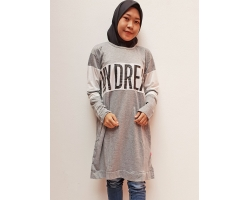 My Dream Atasan Tunik Kaos Wanita - Statement Dress - GREY