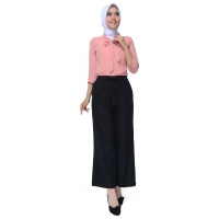 JO & NIC Lina Kulot Panjang Linen Celana Kerja / Casual Wanita Ukuran Jumbo - Linen Culotte Long Pants fit up to Big Size - BLACK