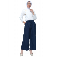 JO & NIC Lina Kulot Panjang Linen Celana Kerja / Casual Wanita Ukuran Jumbo - Linen Culotte Long Pants fit up to Big Size - NAVY