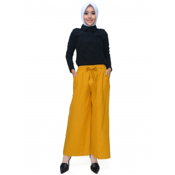 JO & NIC Lina Kulot Panjang Linen Celana Kerja / Casual Wanita Ukuran Jumbo - Linen Culotte Long Pants fit up to Big Size - YELLOW