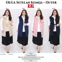 OLGA Setelan 2pcs (Kemeja + Outer Vest) JUMBO - Big Size fit up to XXL