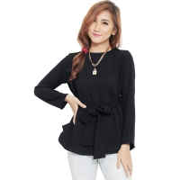 Marina Ribbon Longsleeve Top - BLACK