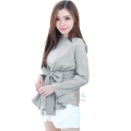 Marina Ribbon Longsleeve Top - GREY
