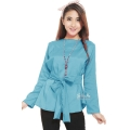 Marina Ribbon Longsleeve Top - SKYBLUE1