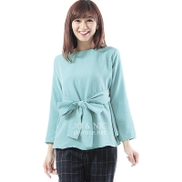 Marina Ribbon Longsleeve Top - SKYBLUE2
