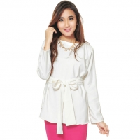 Marina Ribbon Longsleeve Top - WHITE