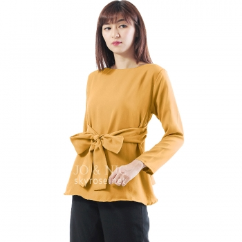 Marina Ribbon Longsleeve Top - YELLOW