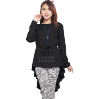 Phoebe Penguin Ribbon Tunic Top - BLACK