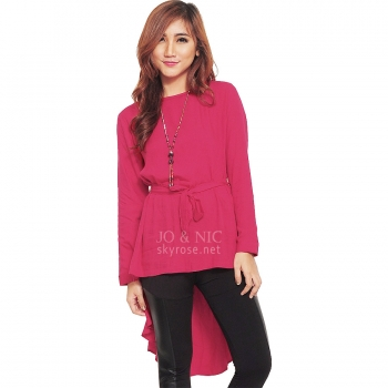 Phoebe Penguin Ribbon Tunic Top - FUSCHIA