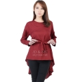 Phoebe Penguin Ribbon Tunic Top - MAROON