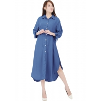 Ashley Ribbon Sleeves Tunic Dress - BLUE