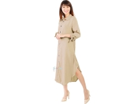 Ashley Ribbon Sleeves Tunic Dress - BEIGE