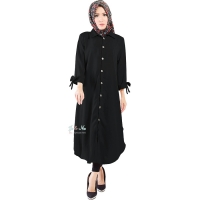 Ashley Ribbon Sleeves Tunic Dress - BLACK