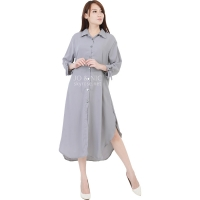 Ashley Ribbon Sleeves Tunic Dress - GREY