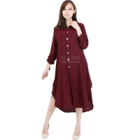 Ashley Ribbon Sleeves Tunic Dress - MAROON
