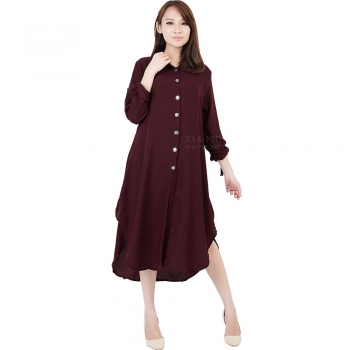 Ashley Ribbon Sleeves Tunic Dress - MAROON2