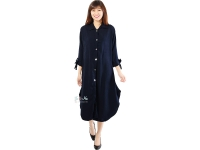 Ashley Ribbon Sleeves Tunic Dress - NAVY