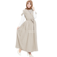 Queeny Outer Maxi Dress - BEIGE