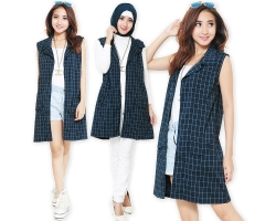 Ashley Plaid Navy Vest [TNK]