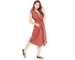 Rebecca Parka Tunic Outer - RED