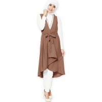 Tamara Midi Outer Vest - BROWN3