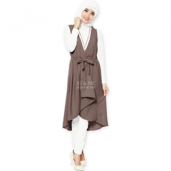 Tamara Midi Outer Vest - BROWN