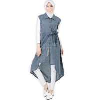 Tasha Ribbon Outer Tunic - BLUE