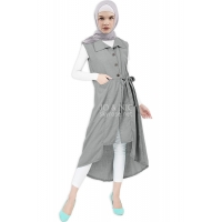 Tasha Ribbon Outer Tunic - GREY / LIGHTGREY