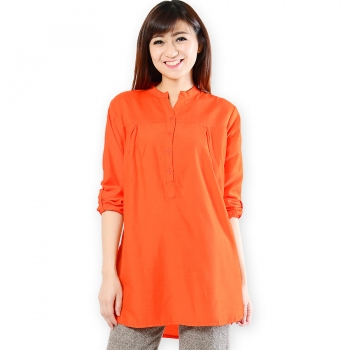 Ameera LongSleeve Tunic Shirt - ORANGE (L)