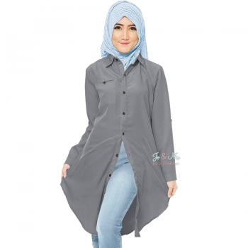 Lydia Longsleeve Tunic Shirt Dress - GREY1 [TNK02]