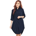 Lydia Longsleeve Tunic Shirt Dress - NAVY [TNK02]