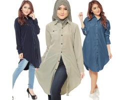 Lydia Longsleeve Tunic Shirt Dress  [HJT06]