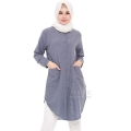 Diandra Chambray Tunic Shirt - DARKBLUE3