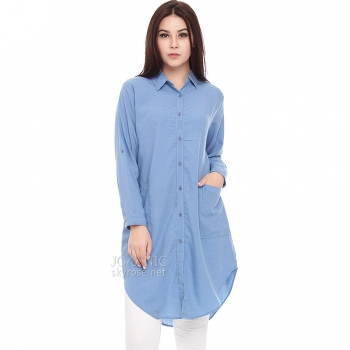 Diandra Chambray Tunic Shirt - LIGHTBLUE5