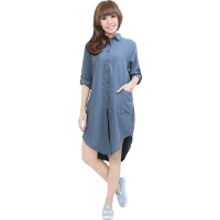 Diandra Chambray Tunic Shirt - DARKBLUE