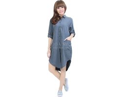 Diandra Chambray Tunic Shirt - DARKBLUE2