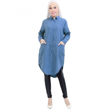Diandra Chambray Tunic Shirt - DENIMBLUE