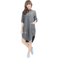 Diandra Chambray Tunic Shirt - GREY1