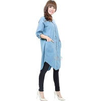 Diandra Chambray Tunic Shirt - LIGHTBLUE1