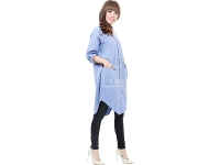 Diandra Chambray Tunic Shirt - LIGHTBLUE