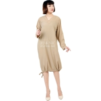 Desiree V-Neck Bottom String Tunic Dress - KHAKI