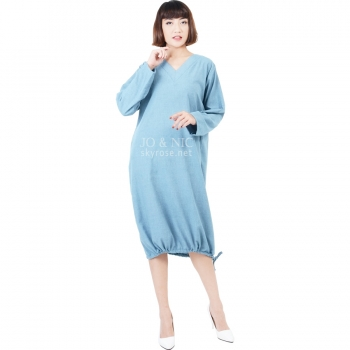 Desiree V-Neck Bottom String Tunic Dress - LIGHTBLUE