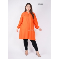 STELLA Tunik Wanita Midi Dress Lengan Panjang - ORANGE