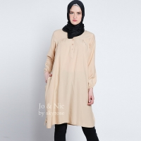 STELLA Tunik Wanita Midi Dress Lengan Panjang M/L/XL - CREAM