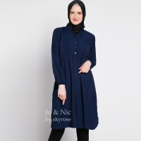 STELLA Tunik Wanita Midi Dress Lengan Panjang M/L/XL - NAVY