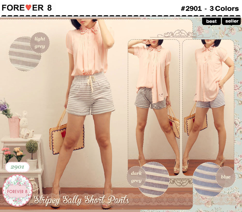 F2901 SALE 47rb Stripey Sally Short Pants bhn katun salur allsize fit to L (normal 63rb last stock DARKGREY)
